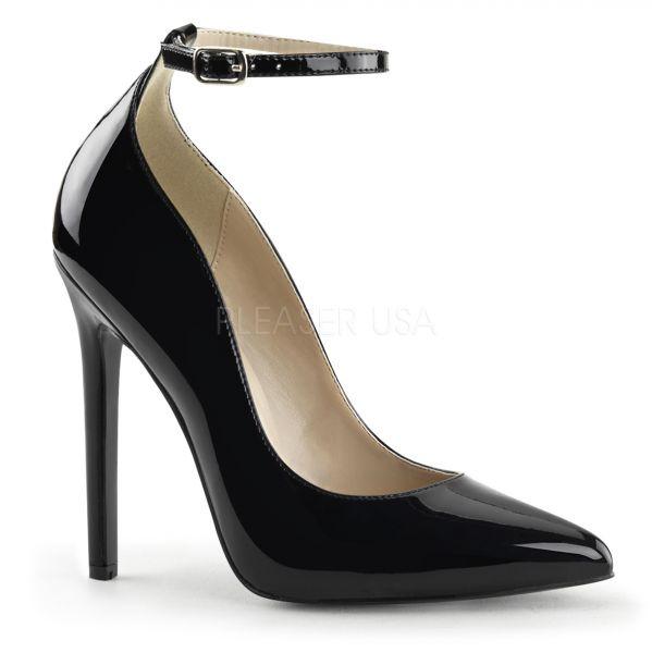 SEXY-23 schwarz Lack     Stiletto High-Heels in schwarz Lack mit schmalem Fesselriemchen